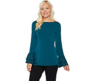 Every Day by Susan Graver Liquid Knit Top w/ Embellished Ruffled Cuffs - A293641