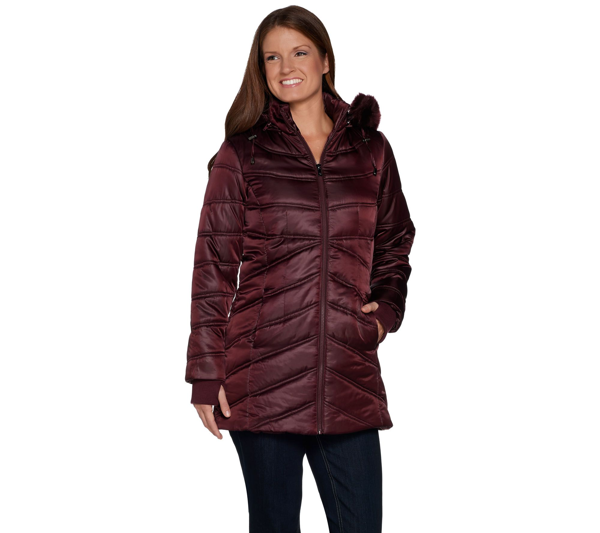 7f62fd39360b6f Isaac Mizrahi Live! Quilted Puffer Coat with Faux Fur Hood - Page 1 ...