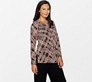 Susan Graver Printed Liquid Knit Shirt with Zipper Pockets - A297141