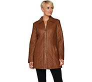 Dennis Basso Diamond Quilted Faux Leather Zip Front Jacket - A297441