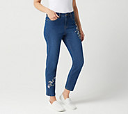 Studio by Denim & Co. Petite Slim Leg Ankle Jeans with Embroidery - A301041