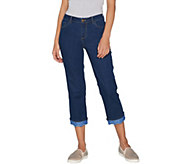 LOGO by Lori Goldstein Straight Crop Refined Jeans with Lace Cuff - A301241