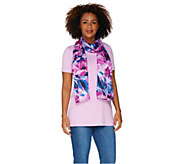Isaac Mizrahi Live! Painterly Peony Striped Sheer Scarf - A302141