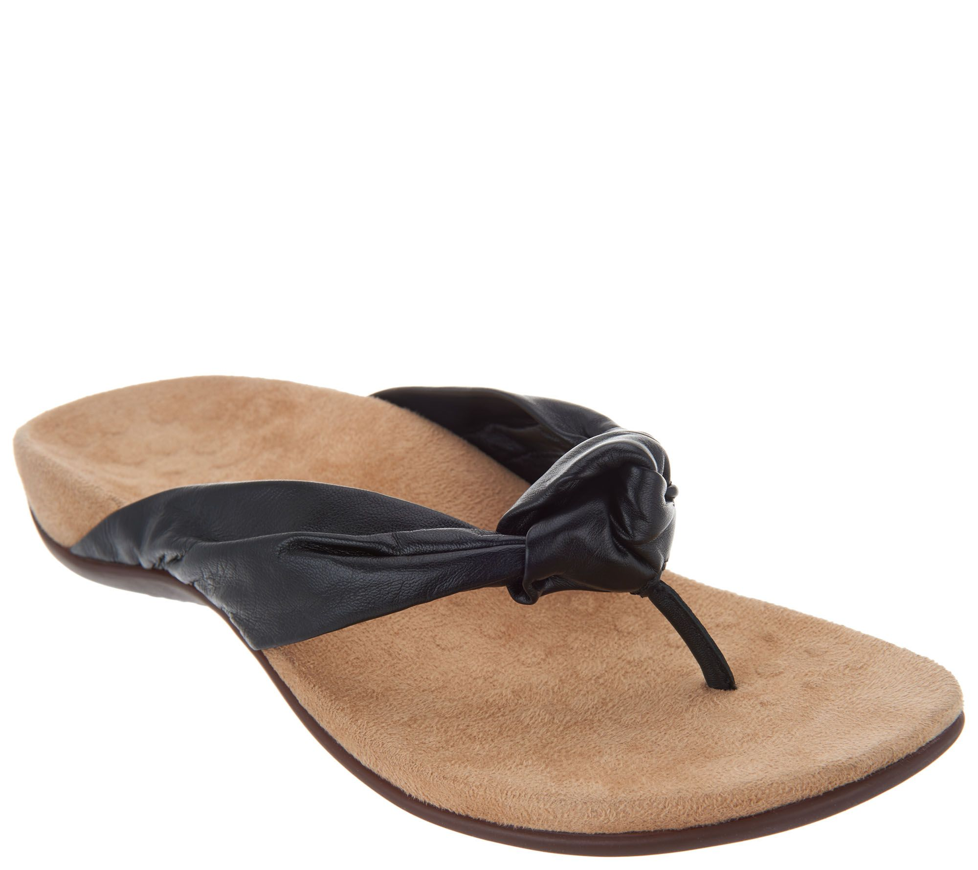 3e342efff44f Vionic Leather Knotted Thong Sandals - Pippa - Page 1 — QVC.com