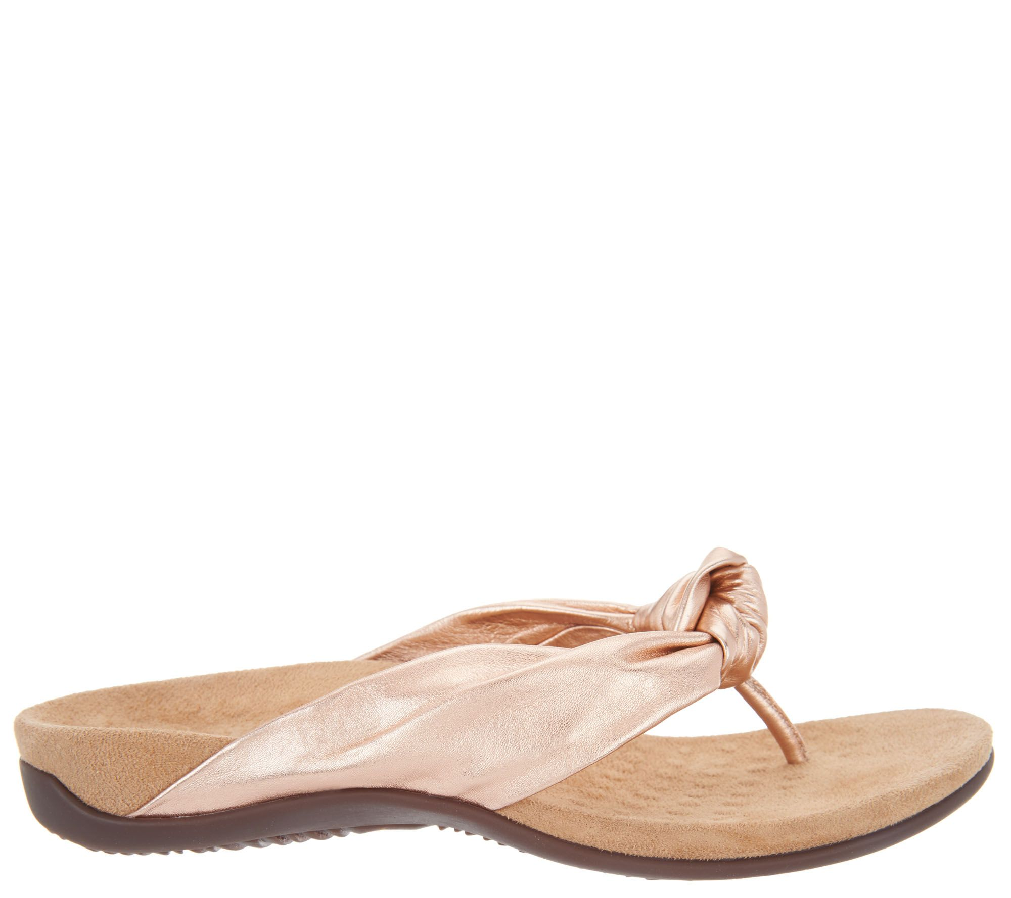 09fb759866df Vionic Leather Knotted Thong Sandals - Pippa - Page 1 — QVC.com