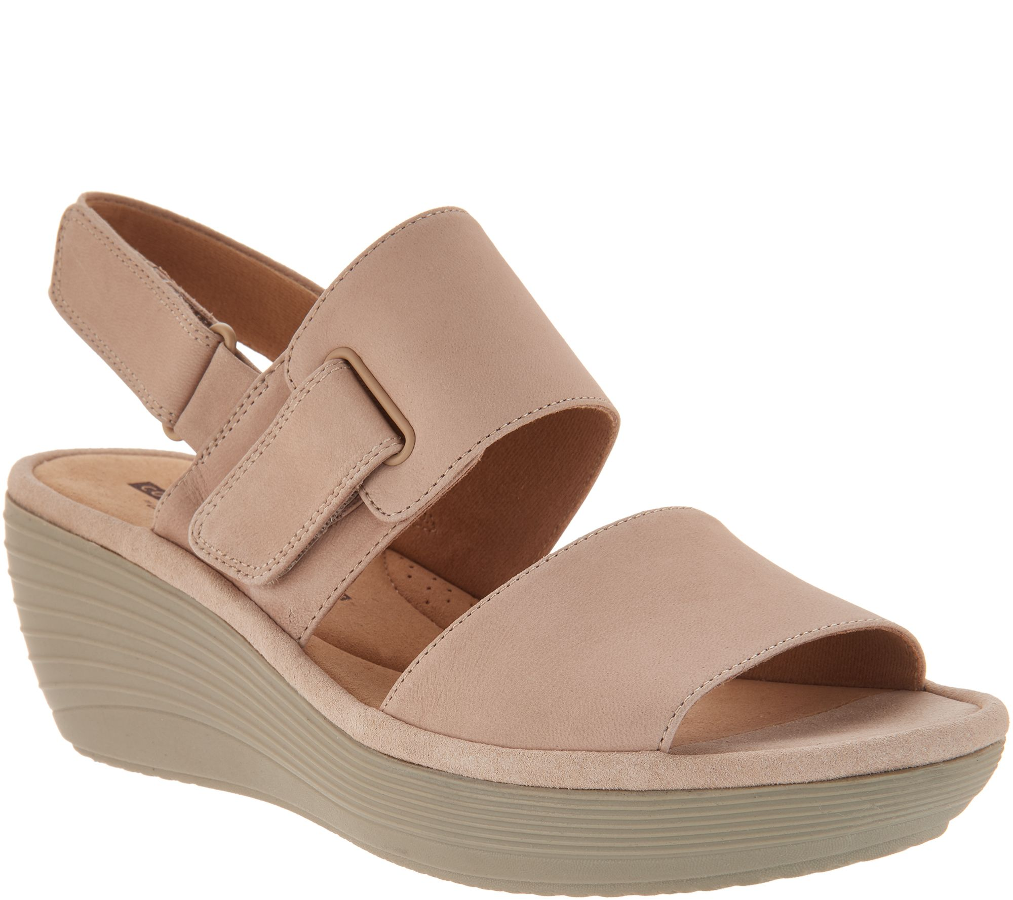 53431d93f763 Clarks Nubuck Leather Adjustable Wedge Sandals - Reedly Breen - Page 1 —  QVC.com
