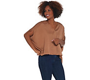Laurie Felt V-Neck Blouse with High-Low Hem - A309541