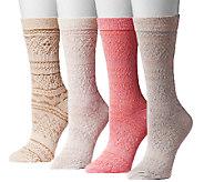 MUK LUKS Womens Microfiber Crew 4-Pair Sock Pack - A335341