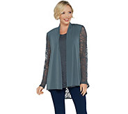 Susan Graver Liquid Knit and Lace Cardigan and Tank Set - A344841