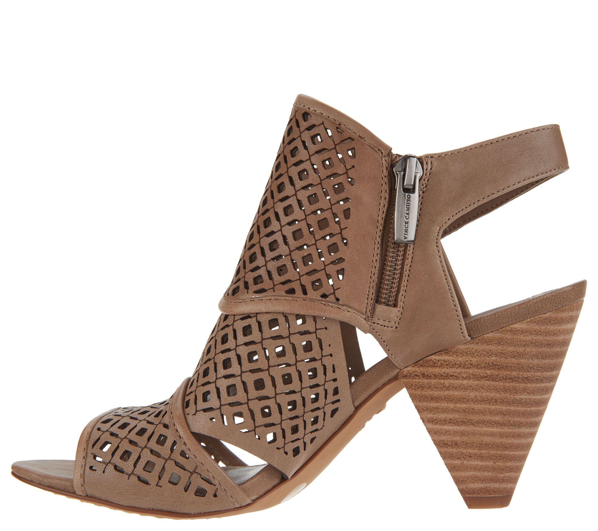 e5988fde237c Vince Camuto Nubuck Perforated Heeled Sandals - Ekanya - Page 1 — QVC.com