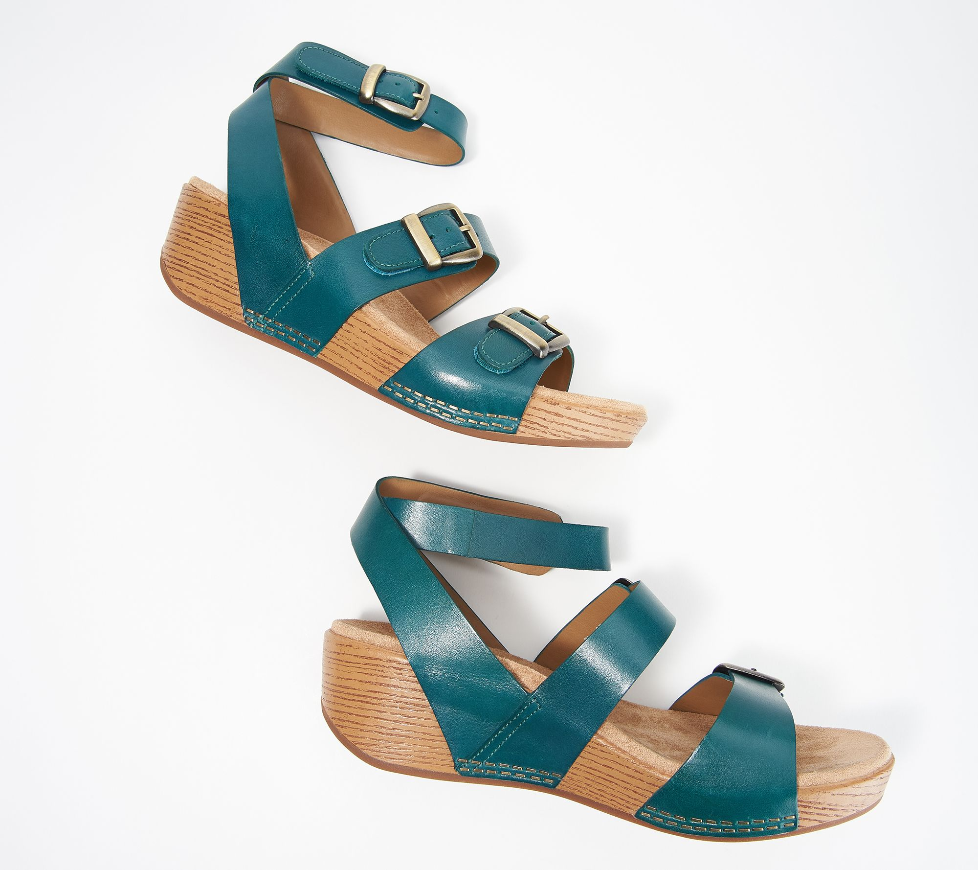 e66c2e306340b Dansko Leather Ankle Strap Wedges - Lou - Page 1 — QVC.com