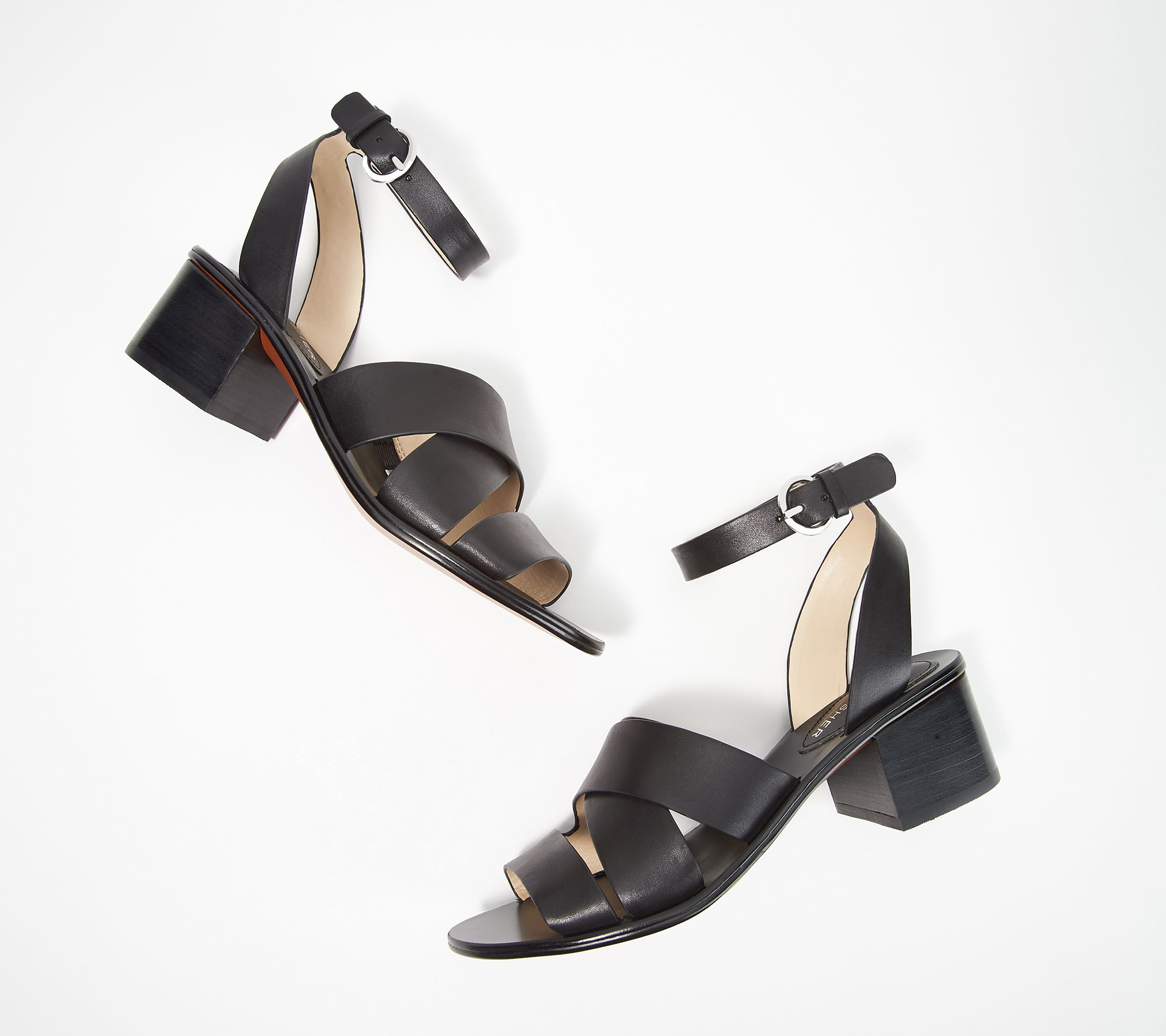 132c520d2ca7aa Marc Fisher Leather Block Heeled Sandals - Omela - Page 1 — QVC.com