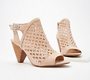Vince Camuto Leather Perforated Heeled Sandals- Emperla - A353441