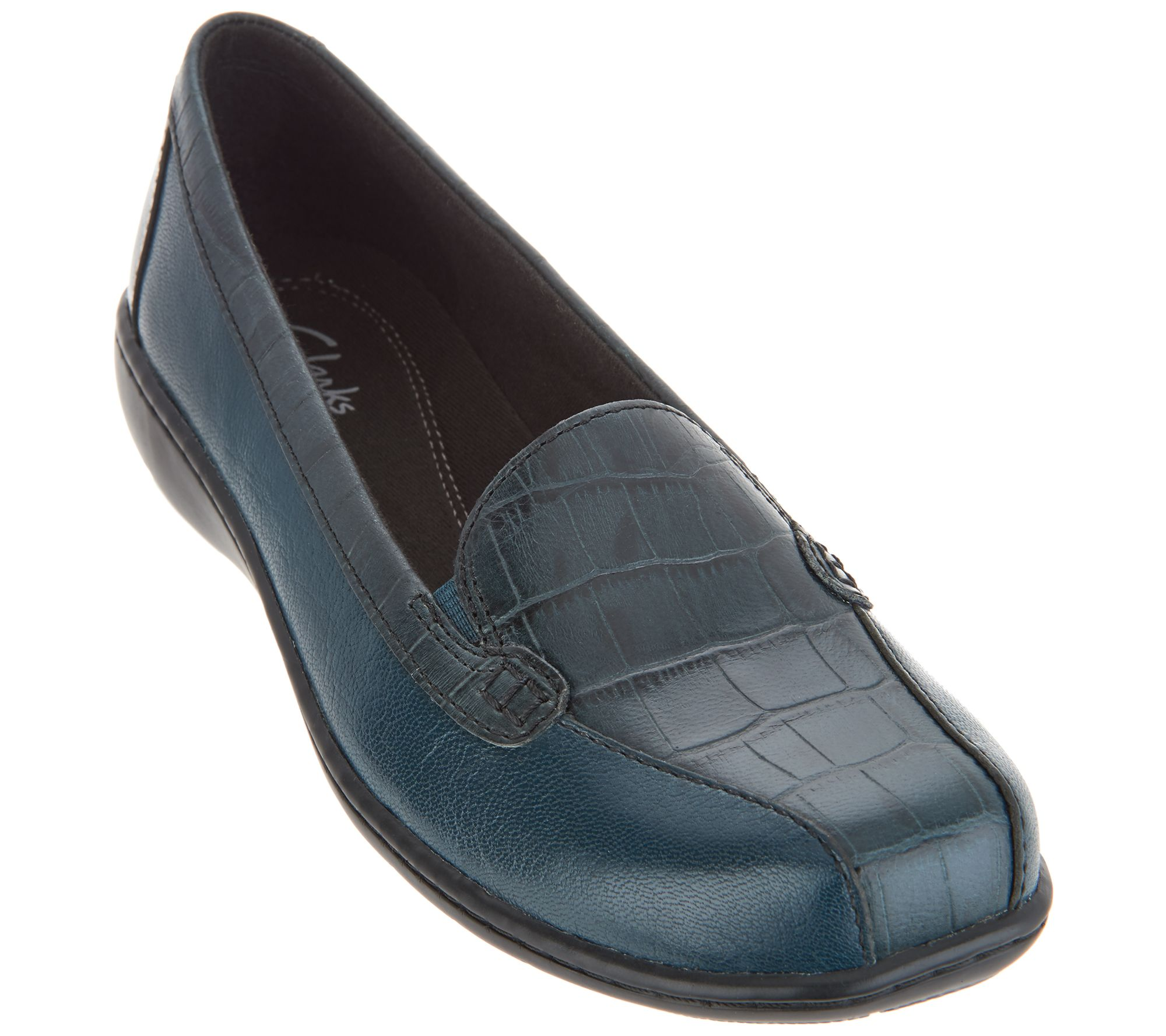 Clarks Bayou Navy Blue Leather /& Croc Emobossed Loafers Flats New