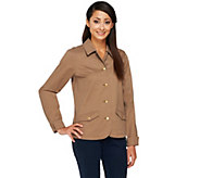 Liz Claiborne New York Button Front Stretch Twill Jacket - A253242