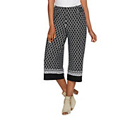 Susan Graver Printed Liquid Knit Wide Leg Capri Pants - A276442