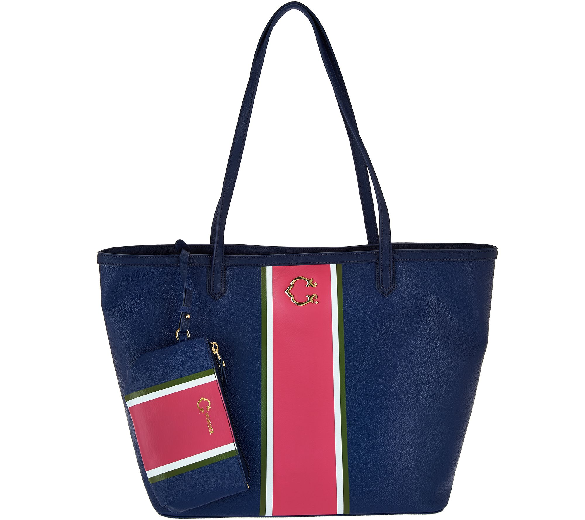 As Is C Wonder Large Racing Stripe Tote Bag With Mini Pouch Qvc