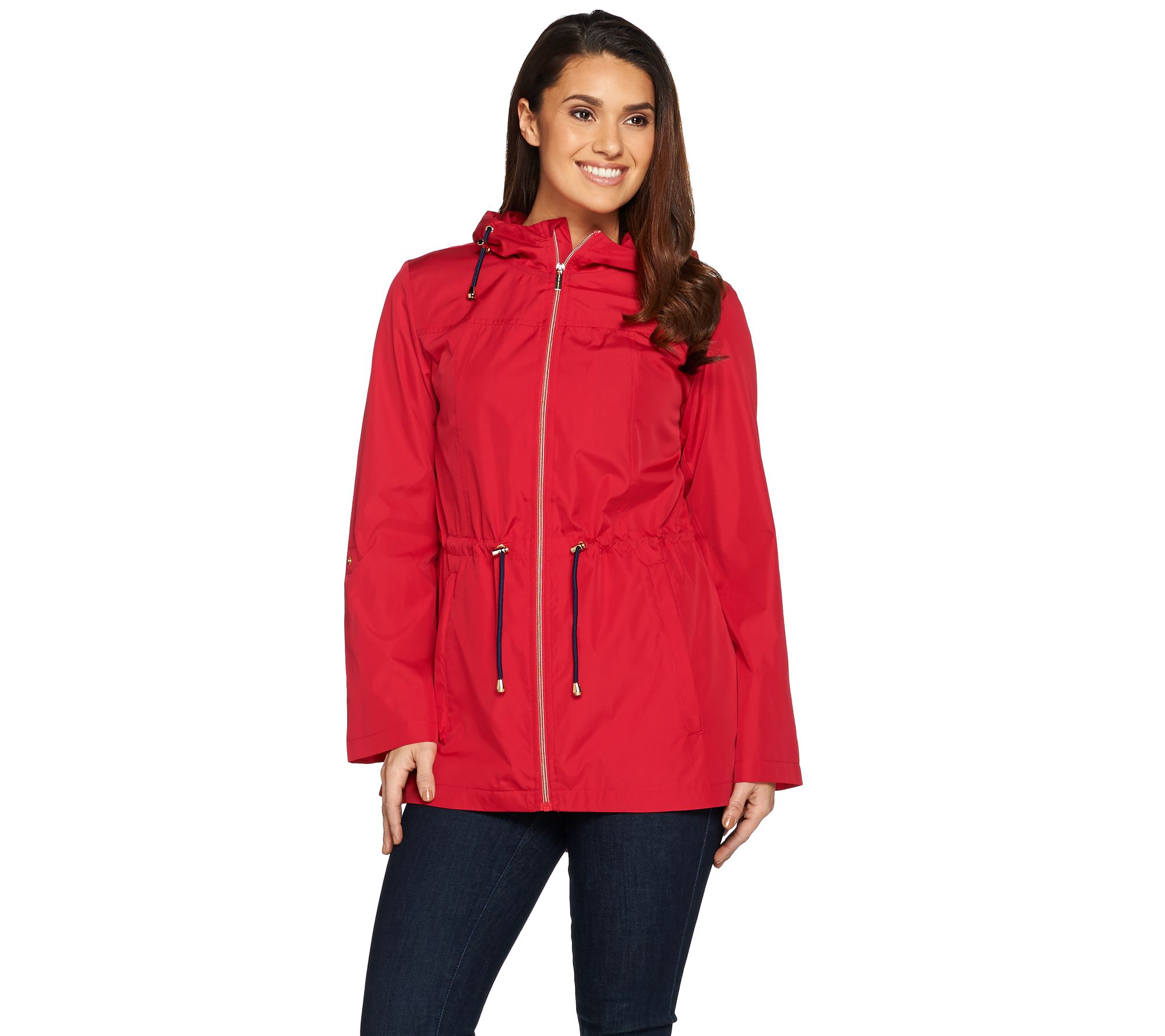 100% authenticated check out really cheap Susan Graver Water Resistant Packable Anorak Jacket with Hood — QVC.com