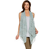LOGO Lavish by Lori Goldstein Embroidered Drape Front Vest w/ Yoryu - A288042