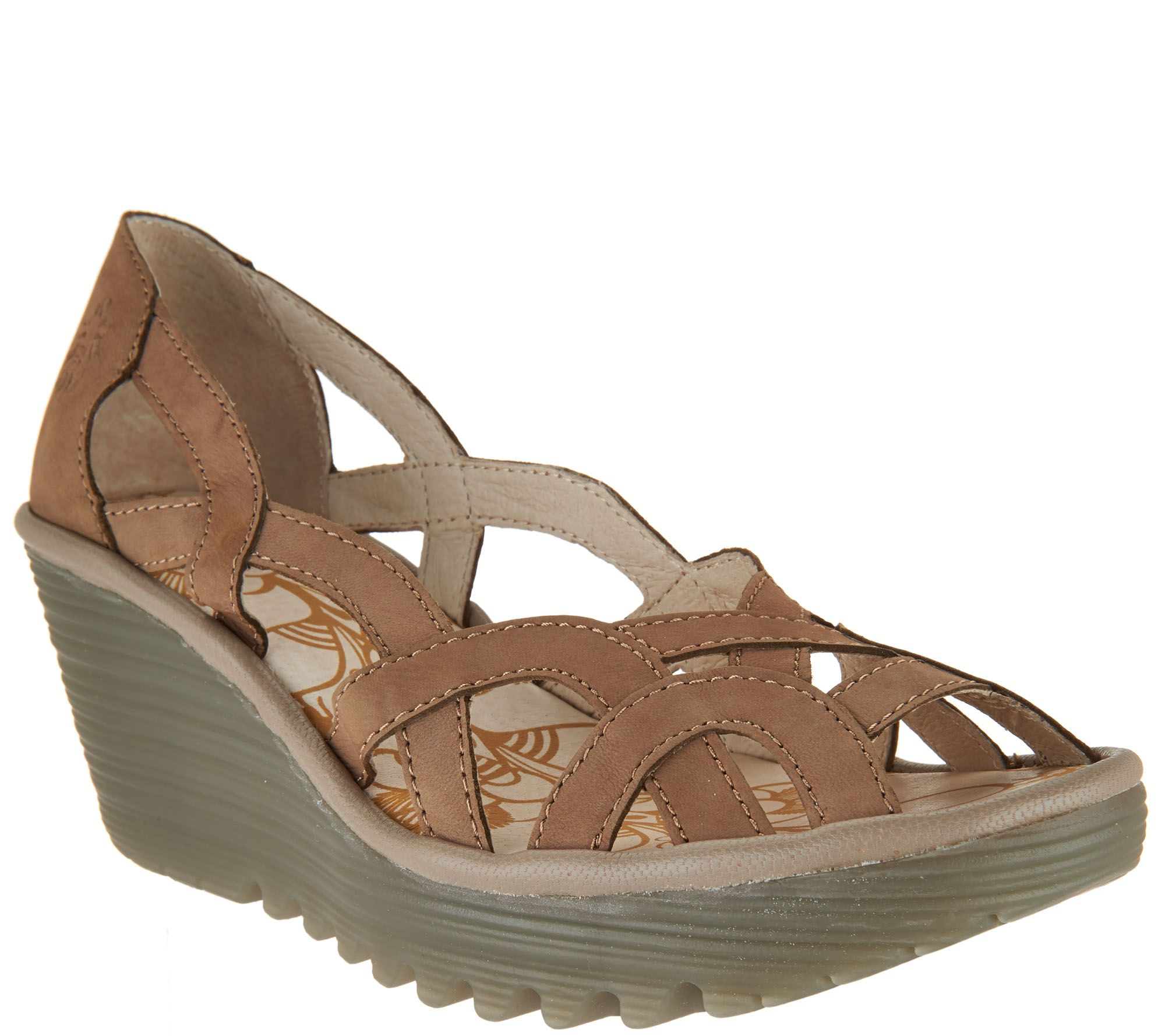 c615f248f3586 FLY London Leather Slip-on Wedge Sandals - Yadi - Page 1 — QVC.com