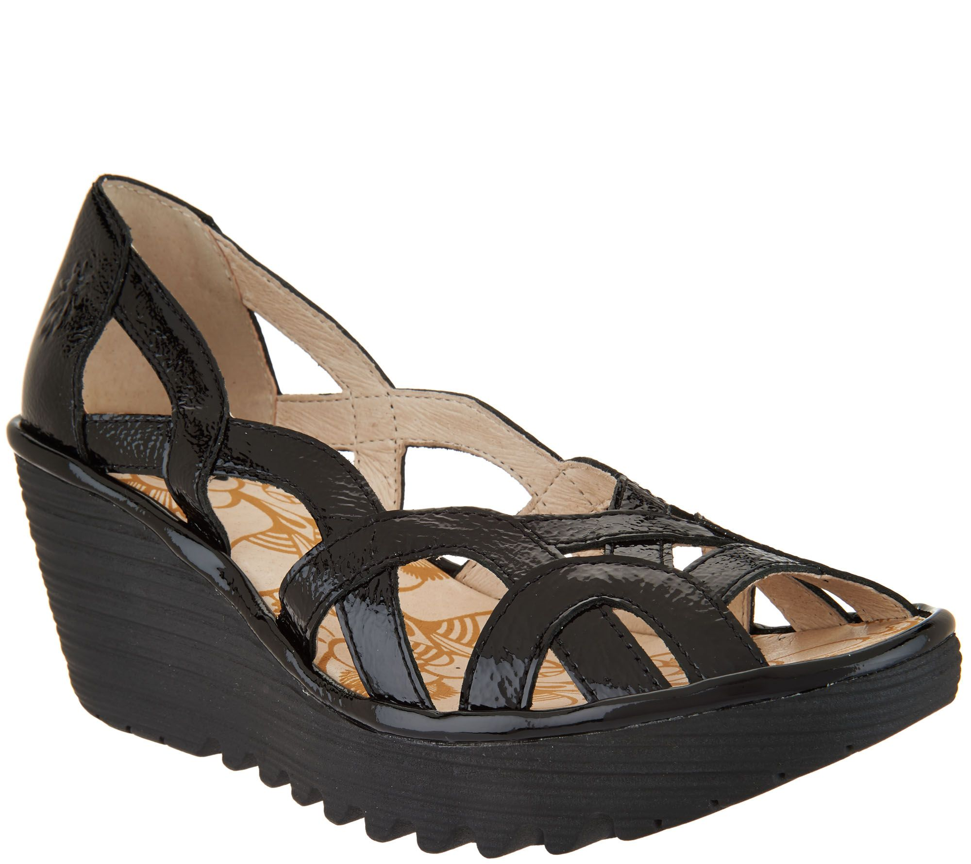 2e9fed2562c1 FLY London Leather Slip-on Wedge Sandals - Yadi - Page 1 — QVC.com