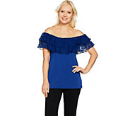 Attitudes by Renee Off the Shoulder Lace Ruffle Top - A290742