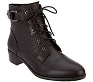 As Is Isaac Mizrahi Live! Leather Lace Up Ankle Boots w/ Quilting Detail - A294142