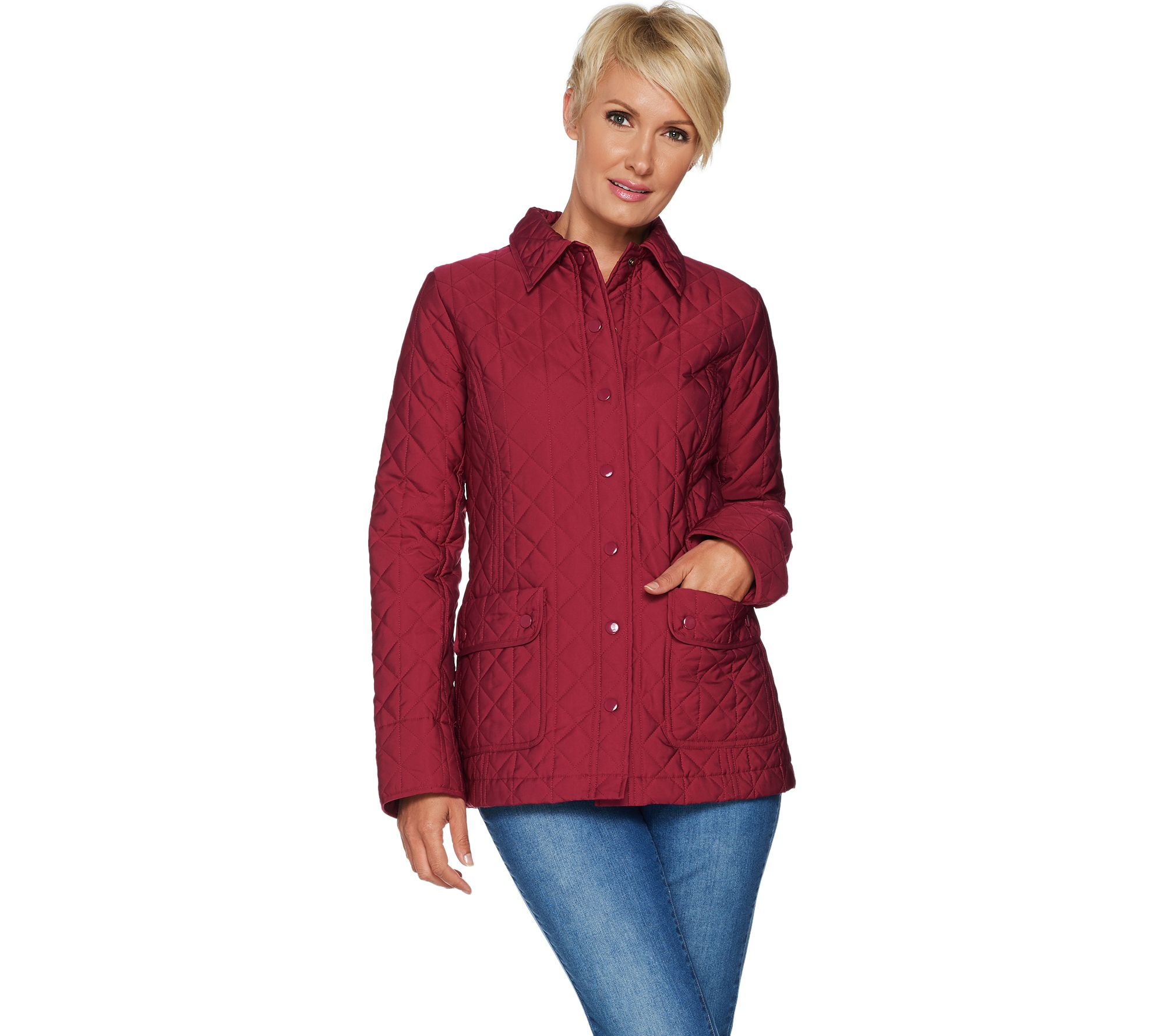 dd515b525b15ff Joan Rivers Quilted Barn Jacket with Pocket Detail - Page 1 — QVC.com