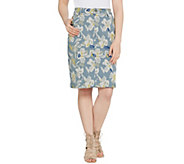 LOGO by Lori Goldstein Printed Stretch Twill 5-Pocket Pencil Skirt - A301242