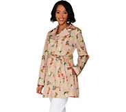 Susan Graver Water Resistant Printed Trench Coat - A302642
