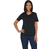 Joan Rivers Wardrobe Builders V-Neck Tee w/ Short Sleeves - A303942