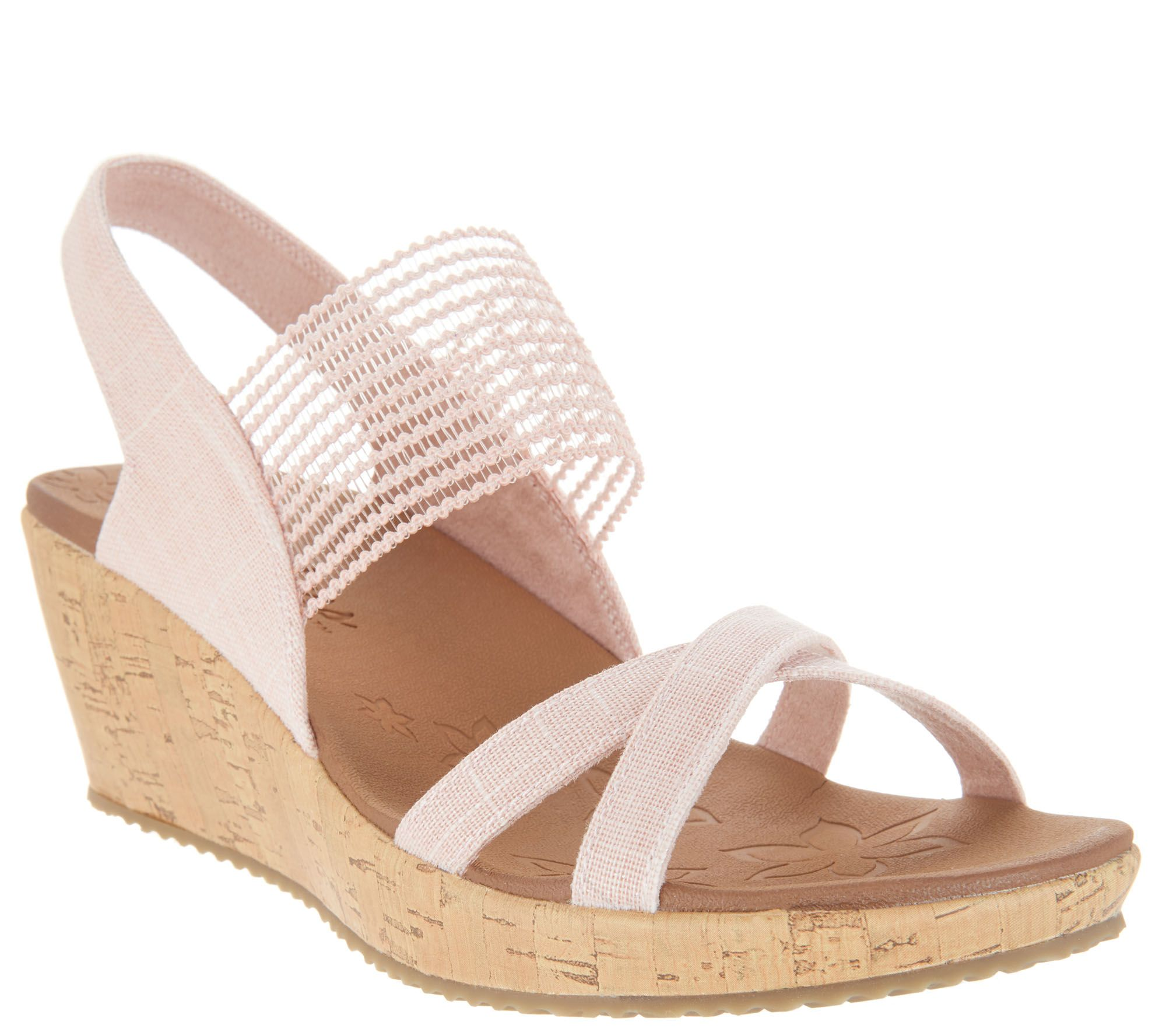 5e7ec9e52b3 Skechers Sling Back Stretch Wedges - Beverlee High Tea - Page 1 — QVC.com
