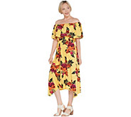 Du Jour Off-the- Shoulder Floral Printed Knit Dress - A310542