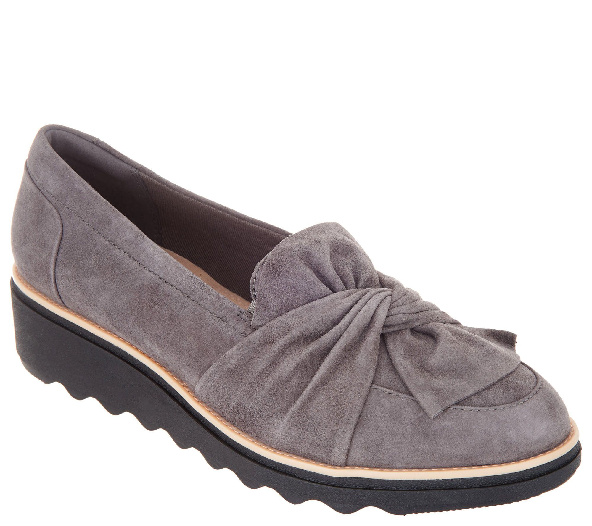 795c947fa01 Clarks Suede Slip-On Loafer with Knotted Detail - Sharon Dasher - Page 1 —  QVC.com