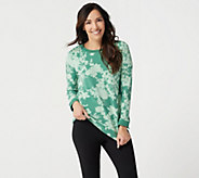 Denim & Co. Active Printed Long-Sleeve Top with Rib Trim - A347342