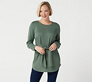 Studio by Denim & Co. Regular Brushed Heathered Tie Front Tunic - A350042