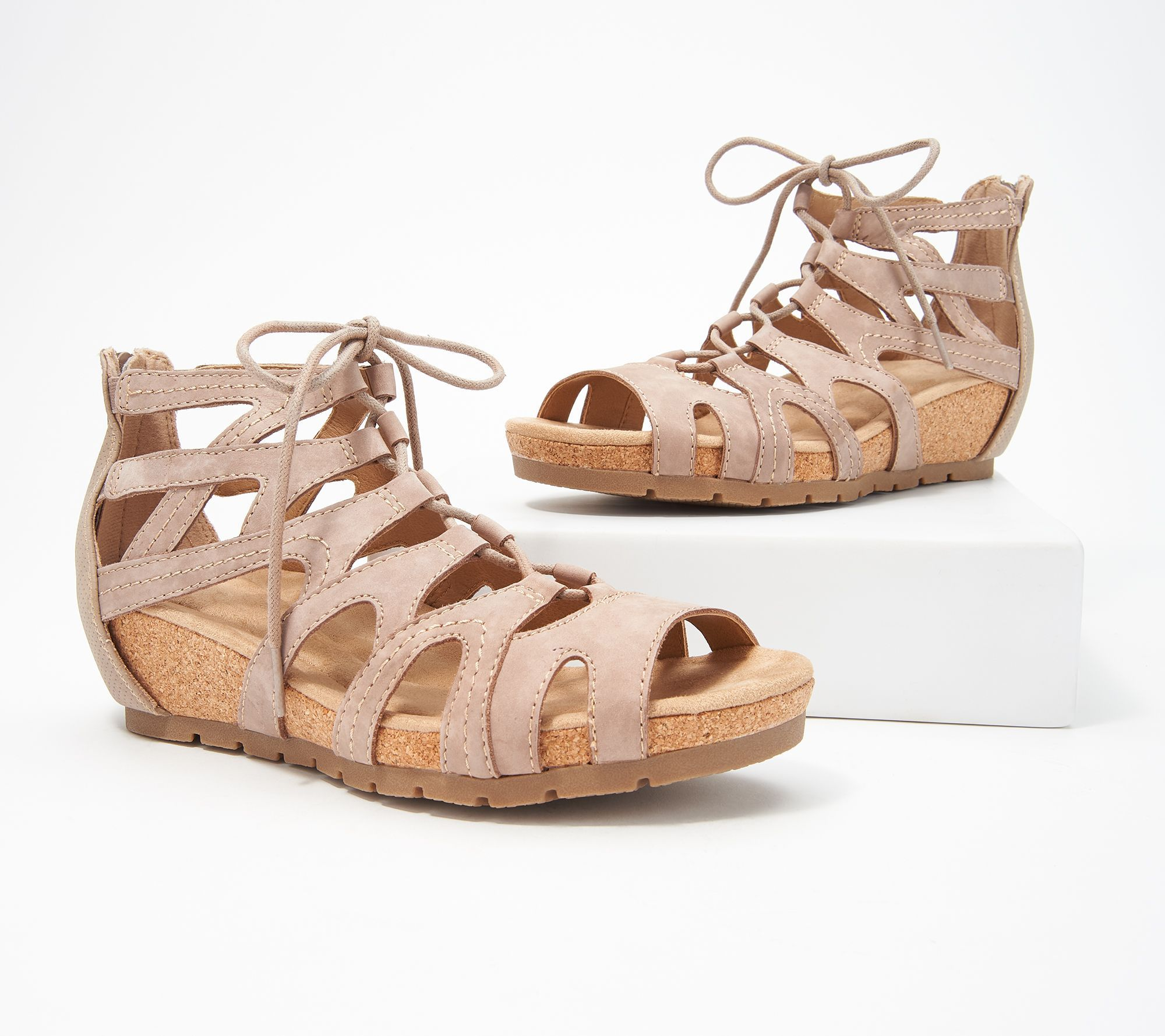 741ee4887d41 Earth Origins Leather Lace-Up Wedges -Kendra Kamilla - Page 1 — QVC.com