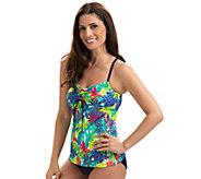Dolfin Aquashape Print Tie-Front Tankini Swim Top - A423942