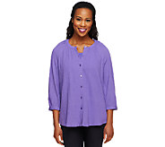 Denim & Co. 3/4 Sleeve Gauze Peasant Shirt with Knit Tank - A214343
