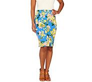 Isaac Mizrahi Live! Floral Printed Knit Denim Skirt - A262843