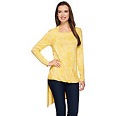 H by Halston Long Sleeve Printed Draped Hi-Low Top - A272143