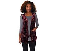 LOGO by Lori Goldstein Panne Velvet Cascade Front Vest w/ Chiffon - A282143