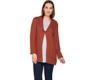 LOGO by Lori Goldstein Melange Sweater Knit Cardigan w/ Shawl Collar - A283043