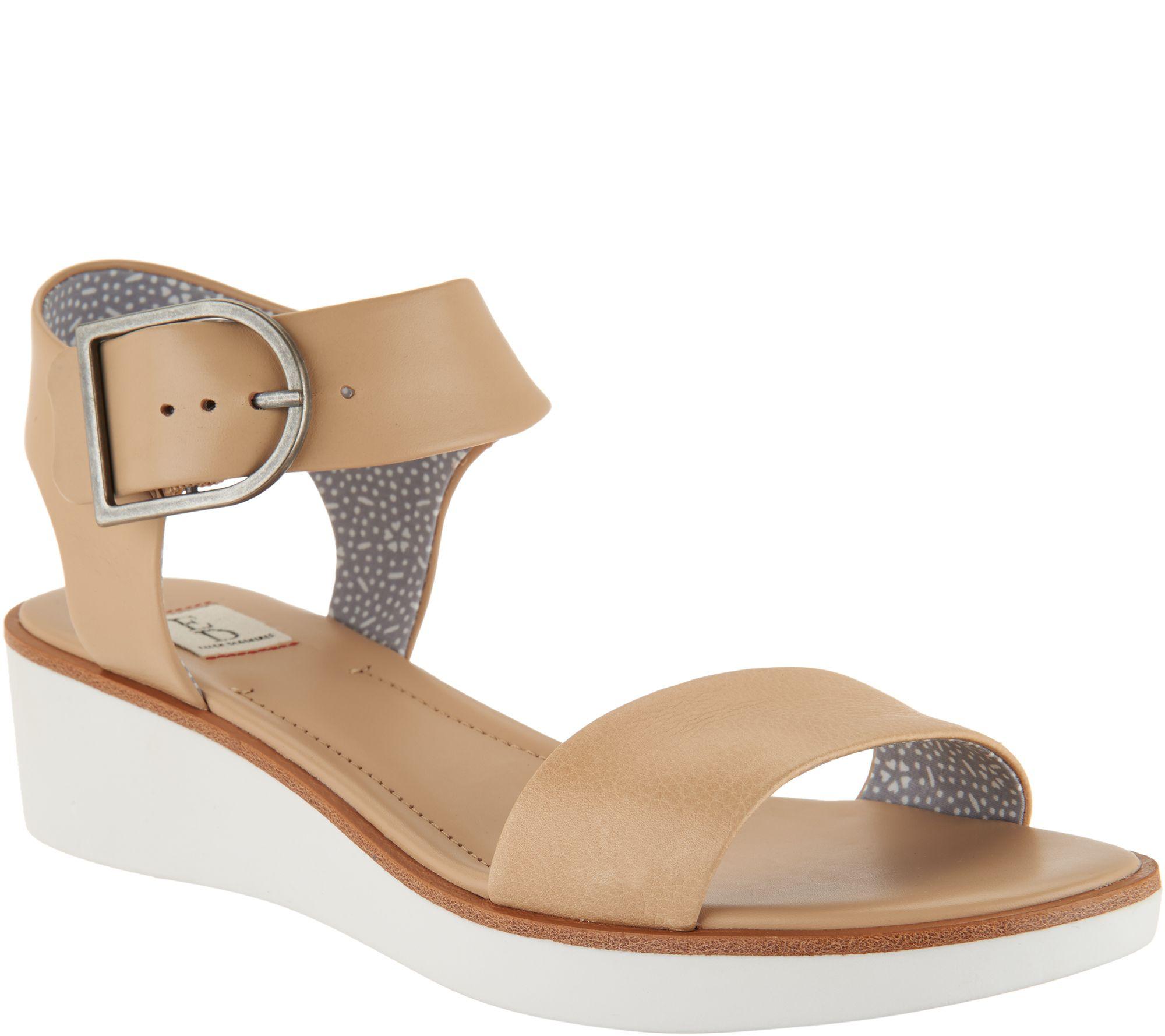 b798c800fd6 ED Ellen DeGeneres Leather Wedge Sandals - Stella - Page 1 — QVC.com