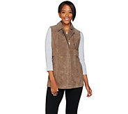 As Is Dennis Basso Washable Suede Zip Front Vest - A291543