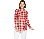 Joan Rivers Plaid Shirt with Back Button Detail - A293343