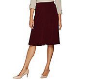 Every Day by Susan Graver Liquid Knit Fit & Flare Pull- On Skirt - A293643