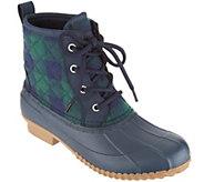 Isaac Mizrahi Live! Plaid Waterproof Mid-Shaft Lace-Up Boots - A298743
