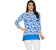 Susan Graver Printed Liquid Knit 3/4 Sleeve Top - A301143