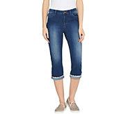 LOGO by Lori Goldstein Straight Leg Capri Jeans w/ Eyelet Cuff - A301243